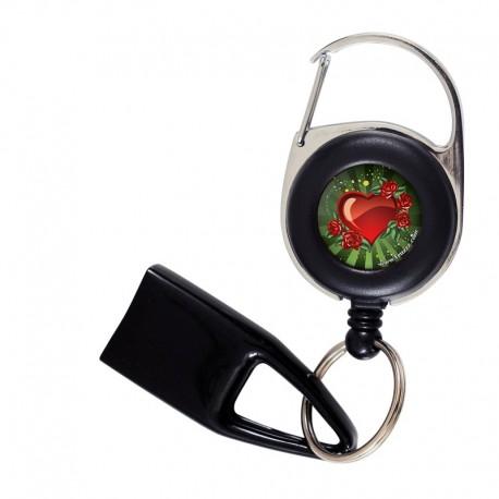 Feuzzz Cœur de Fête, porte briquet / clé USB / badge à enrouleur