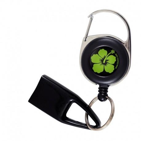 Feuzzz Fleur Des Iles verte, porte briquet / clé USB / badge à enrouleur