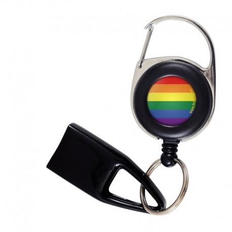 Feuzzz Arc en Ciel, porte briquet / clé USB / badge à enrouleur