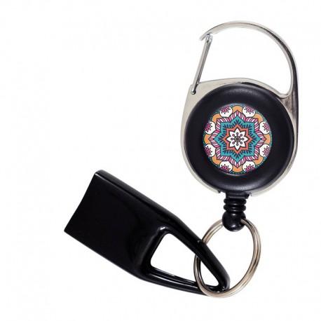 Flat Feuzzz Mandala Bleu , porte briquet / clé USB / badge à enrouleur