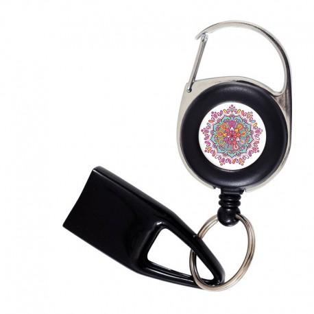 Flat Feuzzz Mandala Rose, porte briquet / clé USB / badge à enrouleur