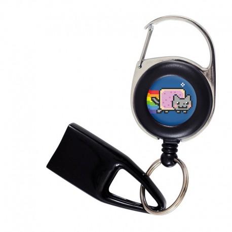 Flat Feuzzz Nyan Cat, porte briquet / clé USB / badge à enrouleur