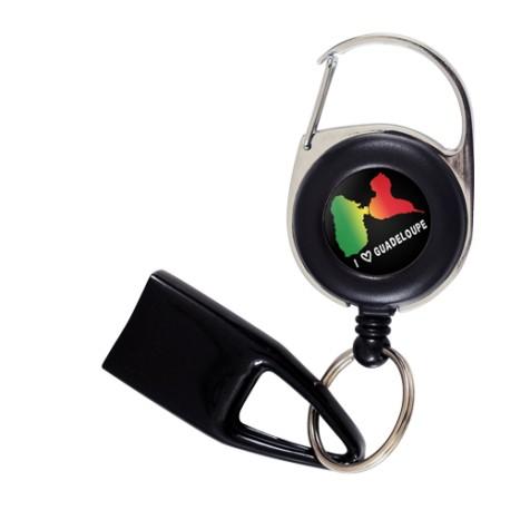 Feuzzz  I love Guadeloupe , porte briquet / clé USB / badge à enrouleur