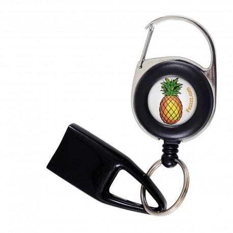 Feuzzz Ananas, porte briquet / clé USB / badge à enrouleur