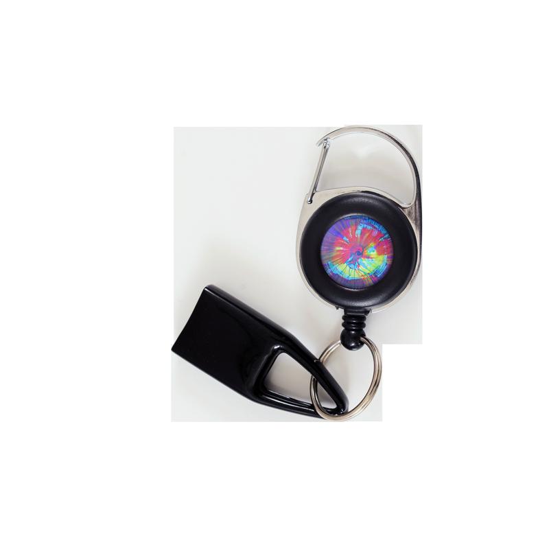 Flat-Feuzzz-l-oeil-du-cyclone, porte briquet / clé USB / badge à enrouleur